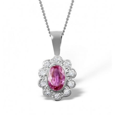 18K White Gold 0.10ct Diamond & 6mm x 4mm Pink Sapphire Pendant, DCP04-PSW